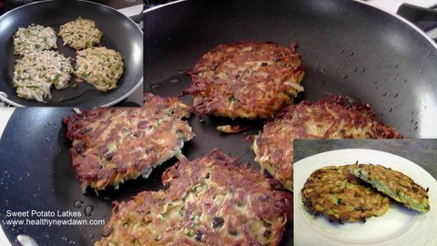 Sweet Potato Latkes - Pan Fried (background and left inset) and Baked (right inset)